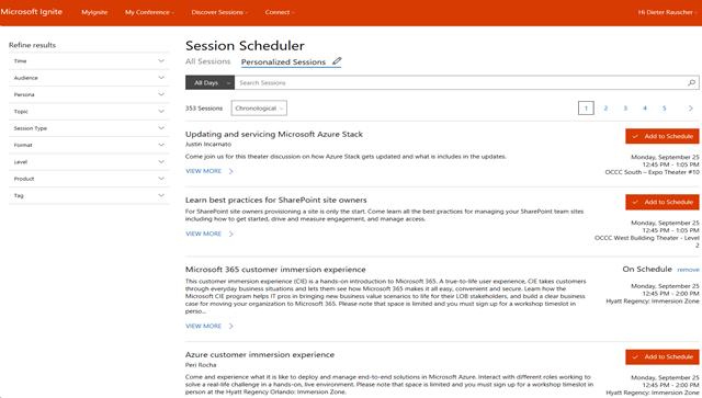 Session Schedule Screenshot